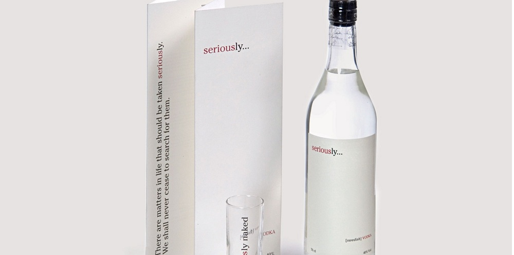 Minimalist packaging design for a premium brand of Swedish vodka
